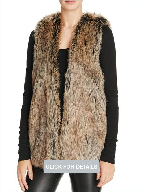 Splendid womens faux fur open front vest