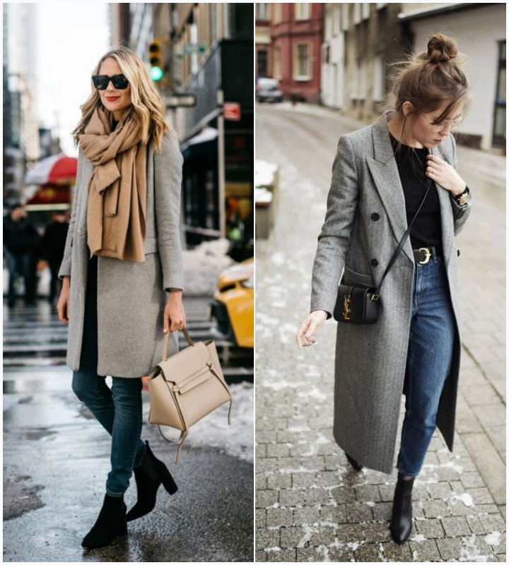 mujo outifts gray coat ankle boots