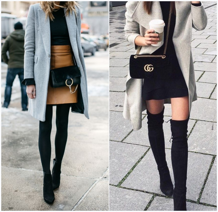 mujo outfits gray coat over the knee boots