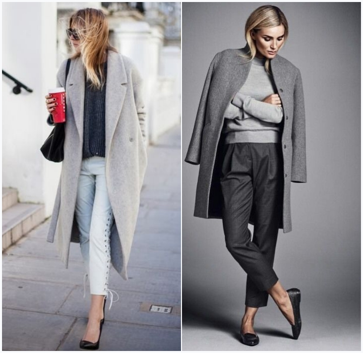 mujo outfits gray coat stilettos flats