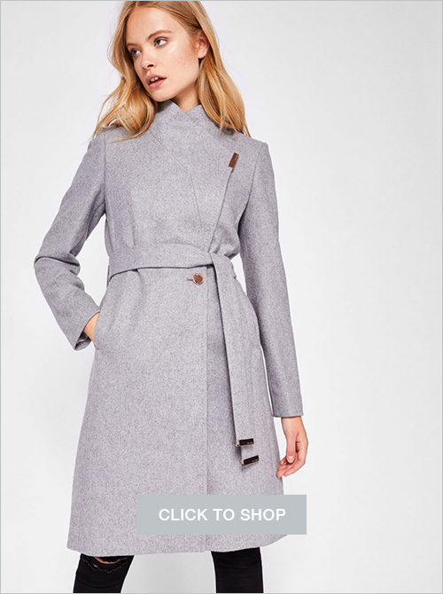 Ted Baker wool cashmere wrap coat light gray