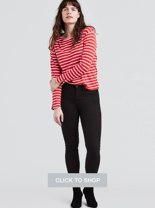 Levi's black skinny jeans for women