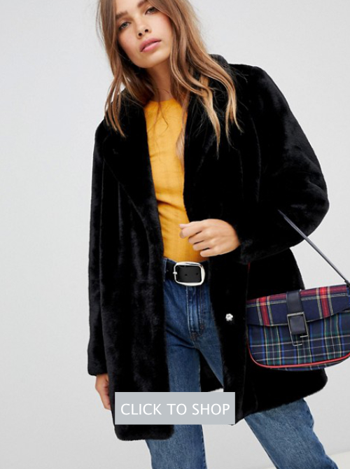 New Look Coat Black Faux Fur