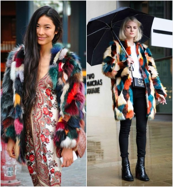how-to-wear-multicolored-faux-fur-coat