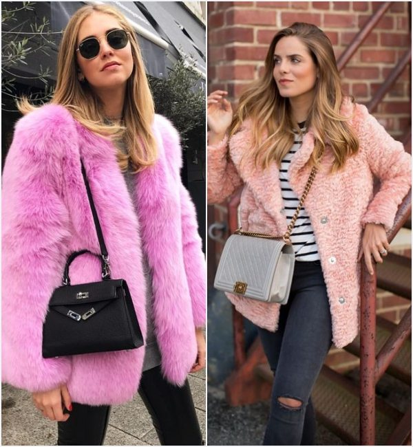 how-to-wear-pink-faux-fur-coat