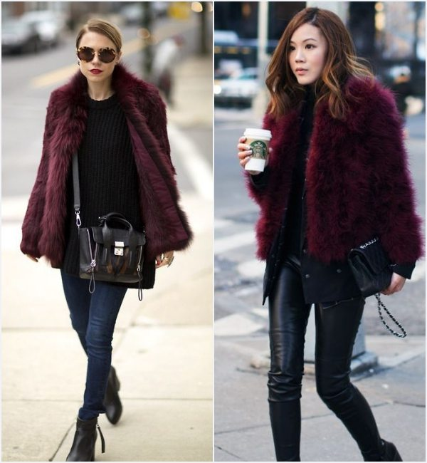 how-wear-burgundy-faux-fur-coat