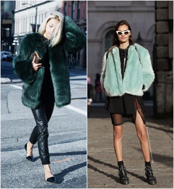 how-wear-green-faux-fur-coat