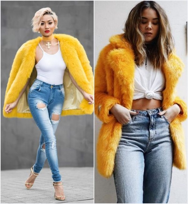 how-to-wear-yellow-faux-fur-coat