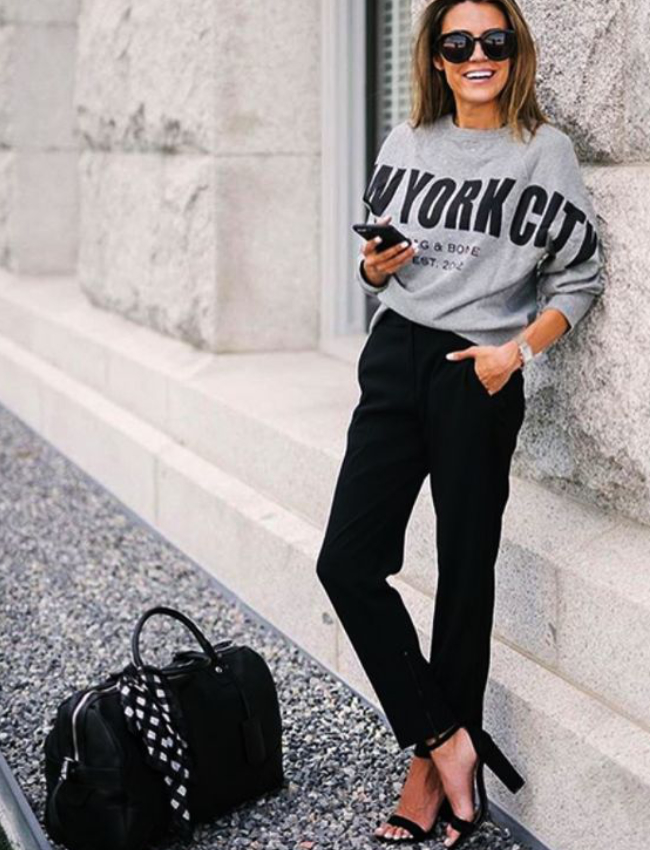 business-casual-outfit-sweatshirt-black-pants